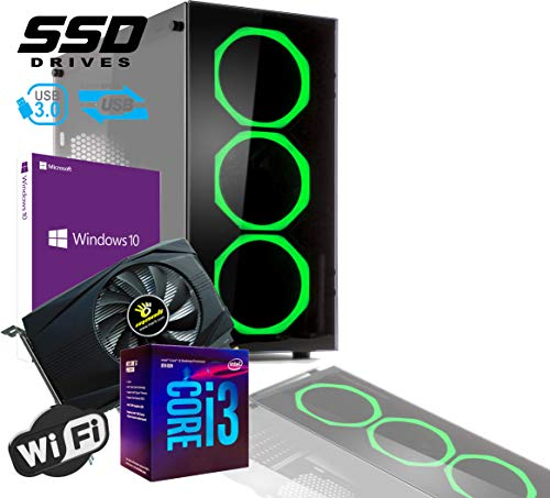 PC DESKTOP GAMING INTEL QUAD CORE I3-8100 UP TO 3,6 GHZ/CASE IN VETRO MYKA CRISTAL SMERALD +3 VENTOLE HALO VERDE/VGA GTX 1050TI 4GB /MB HDMI VGA DVI/RAM 16Gb DDR4/SSD 480GB /WIFI 300MB/WINDOWS 10 PRO