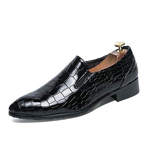 Mamrar Männer Casual Oxford Schuhe Business Kleid Hochzeitsbankett Mode Plaid Krokodildruck Geprägte Spitzschuhabdeckung Wohnungen EU Größe 38-44 (Color : Black Latticed, Größe : 41 EU) -
