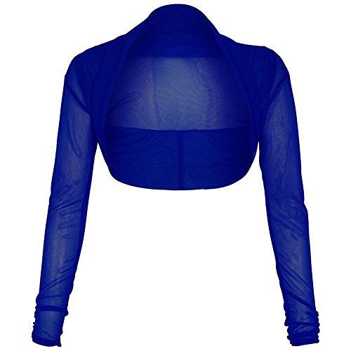 Janisramone Donna Nuova maglia Sheer Chiffon Bolero Coprispalle Cardigan Corto Manica Lunga Royal Blue