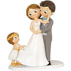 Mopec Figura Pastel Novios E Hija, Poliresina, Gris, 8,6 x 18,8 x 21,4 cm