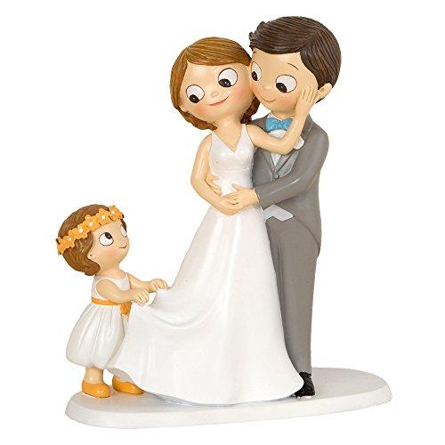 Mopec Figura Pastel de boda Novios E Hija, Poliresina, Gris, 8,6 x 18,8 x 21,4 cm
