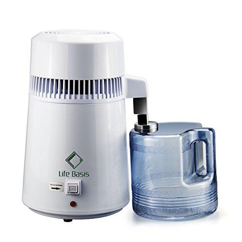 LifeBasis Distillatore Acqua Automatico Acciaio Inox Interno con Caraffa di Raccolta in Policarbonato 4 Litri per Casa, Dentista, Ospedale e laboratorio professionale, Bianco