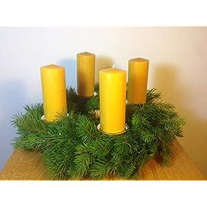 4 Stück Kerzen für den Adventskranz aus 100% Bienenwachs, 12 x 5 cm, Stumpen, handgemacht, Bienenwachskerze,gegossen, direkt vom Imker aus Deutschland, Bayern, von der Bienenbude.