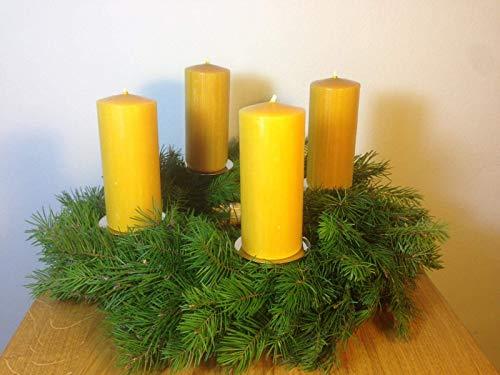 5 Stück Gegossen (4 Stück Kerzen für den Adventskranz aus 100% Bienenwachs, 12 x 5 cm, Stumpen, handgemacht, Bienenwachskerze,gegossen, direkt vom Imker aus Deutschland, Bayern, von der Bienenbude.)
