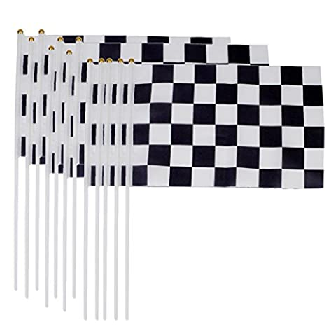 Racing Flags Hand Waving Flags 30 x 20cm Pack of 12 Black and White Chequered