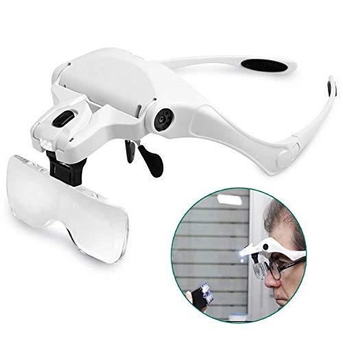 LED Illuminated Headband Magnifier, Headbandaustauschbare Eyeglasses Bracket Head Mount Magnifying Gläser für Reading, Schmuck, Elektronische Reparatur 5 austauschbare Objektive