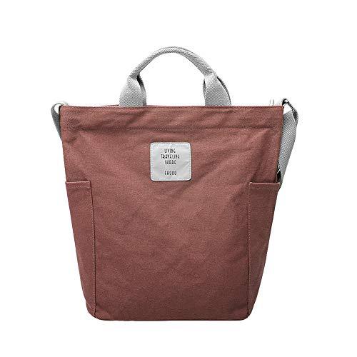 Gindoly Casual Handtasche Damen Canvas Chic Schultertasche Damen Henkeltasche Schulrucksack Große umhängetasche Tasche Ziegel Rot EINWEG -