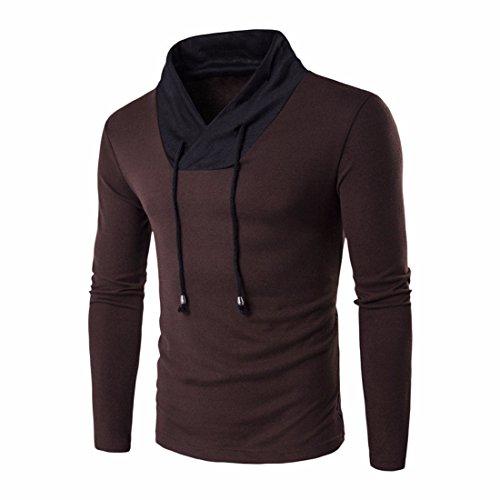 Men's V-neck Patchwork Slim Fitness Long Sleeve Casual Sweatshirt brown