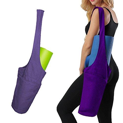 AMAGIGO Yogamatte Tote Bag Sling Carrier mit großer Seitentasche und Reißverschluss Mehrzweck Taschen (Matte separat erhältlich) (Lila) (Tie-dye-sling)