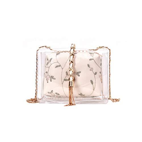 Wawer DamenTasche, Mode Dame Retro transparent floral Kette Handtasche Umhängetasche Diagonale Paket Weiß Gelb Grün (20X7X16cm, Weiß) -