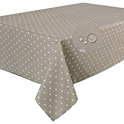 Home Direct Nappe Anti-Tache Polyester Rectangulaire 140 x 240 cm à Pois Taupe