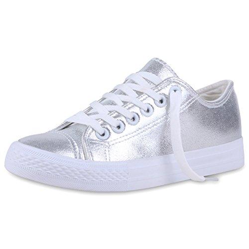 Elegante Damen Sneakers low | Glitzer Canvas Schuhe | Turnschuhe Freizeit | Gr. 36-41 Silber Total