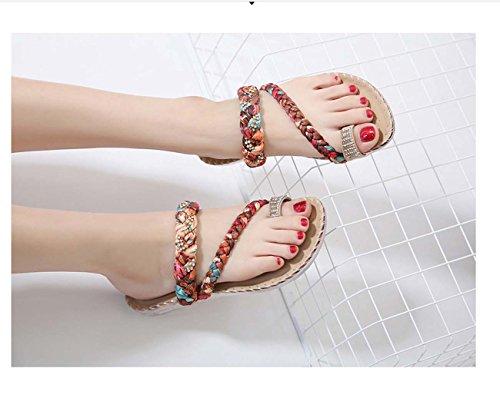 Women Bohimia Sandal Clip Toe Thong Sandal Flip Flop Simple Chaussures De Plage Beige