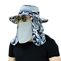 CuteRose Men Fishing Sunscreen Breathable UV Protecting Sun Hats with Neck Flap White OS