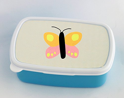 Blue lunch box with Butterfly