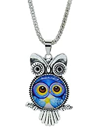 GirlZ! BLue Glass Cabochon Vintage Owl Pendant With Chain For Women