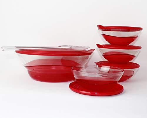 Tupperware Set Eleganzia 3,2 L + 4 x 600 ml + Salatbesteck ROT/TRANSPARENT Schale Schüssel Servierschale BLICKFANG