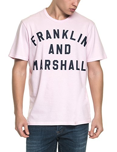 Franklin & Marshall Men's Men's Light Grey T-Shirt With Print 100% Cotton Pink