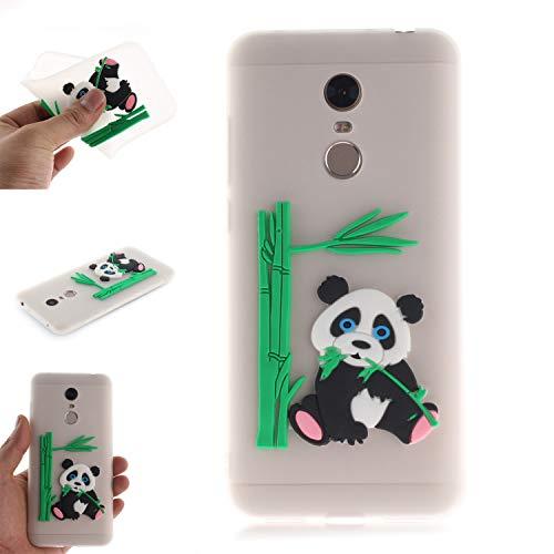Coque pour Xiaomi RedMi 5 Plus, Coffeetreehouse Coque 3D Neuf Design Premium [Panda et Bambou] Housse de Protection Flexible Soft Case Cover,Translucide