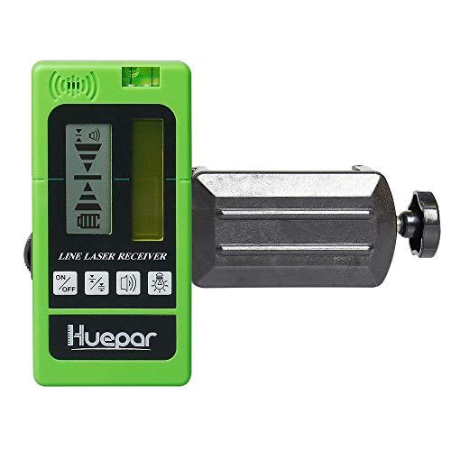 Huepar LR-5RG Laserdetektor für Puls-Kreuzlinienlaser, Digital Laserempfänger Erkennen für Rote und Grüne Linienlaser bis zu 50-60m Entfernung, mit Zweiseitige hintergrundbeleuchtete LCD-Displays