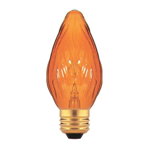 bulbrite 25F15A 25W Fiesta Style Kronleuchter Glühbirne, mittlere Base, Bernstein, Glas, bernsteinfarben, E26 25 wattsW 130 voltsV -