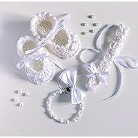 Set neonata battesimo elegante | catenella portaciuccio | fascia per capelli uncinetto | scarpine 0/12 mesi con fiocco | ilnodocreativo