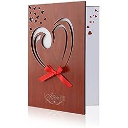 Unomor Liebes Karten Holzimitat Gruß Karte für Jahrestag, Geburtstag, Valentinstag, Hochzeiten