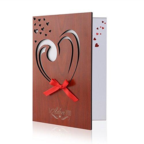 Unomor Liebes Karten Hölzern GrußKarte Holz Herz Gruß Karte für Jahrestag, Valentinstag, Hochzeiten