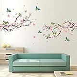 Alicemall Stickers Muraux Fleur de pêcher en PVC 3D Autocollants Imperméable à L'eau Adhésif pour Décoration de la Maison Salon Chambre(Fleur de pêcher et Oiseaux)