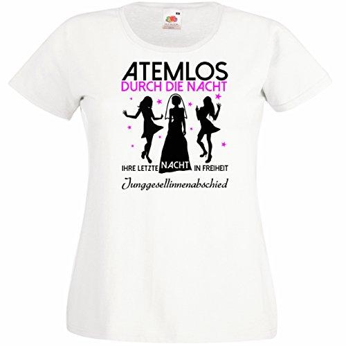 T-Shirt Atemlos - IHRE letzte Nacht in Freiheit für den Junggesellinnenabschied (Frauen/Freundinnen) in weiss, Größe S