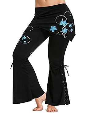 Pantaloni Donna Taglia Più Pantaloni con Minigonne Pantaloni Vita Alta Pantaloni Zampa Elefante Leggings Gotici...