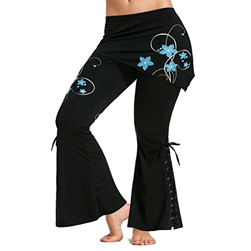 Damen Schlaghose Miniröcken Hoch Taillierte Hose Lang Freitzeithose Gothic Bekleidung Floral Bedruckte Jeggings Leggins XL hibote