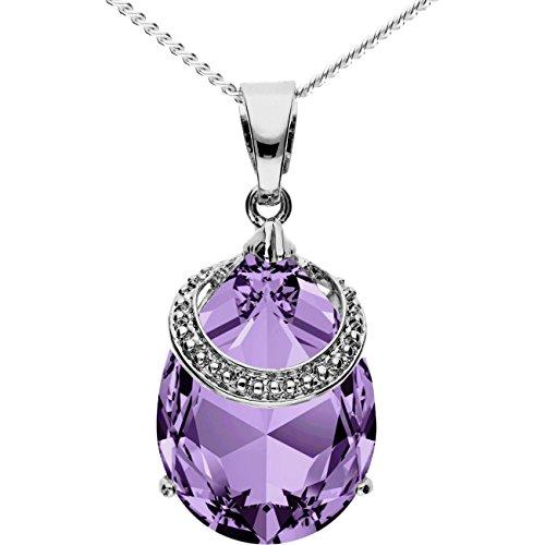 MYA art Premium Kette Halskette 925 Sterling Silber Tropfen mit Ring Anhänger...