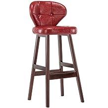 MNII Retro taburetes de cocina con taburetes de madera maciza de PU de Barra de asientos de madera, soporte de madera maciza, altura de 75 cm para la cocina Counter Bar , 17