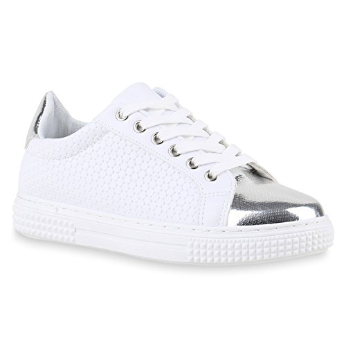 Sneakers Low Damen Lack & Glitzer Turnschuhe Freizeit Schuhe Weiss Lack