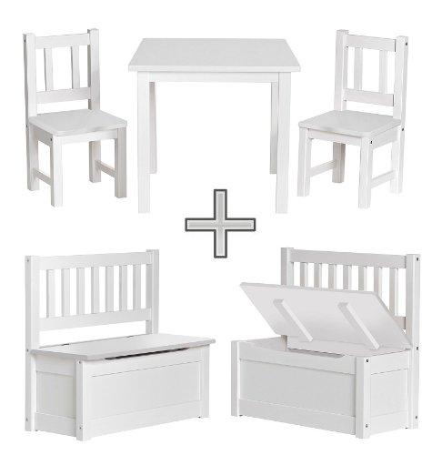 Original IMPAG Kinder-Sitzgruppe | Großes Kinderzimmer Set 1 Tisch, 2 Stühle, 1 Truhenbank mit Qualitäts-Beschlag | Nordische Fichte | Ergonomisch | Top Möbel-Qualität | Sicherheitsgeprüft