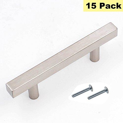 Schrank Knöpfe Schublade zieht Nickel gebürstet-peaha Square Bar Küche Tür Hardware Schrank Griffe Edelstahl 15Stück Türhenkel 6in Length(3-3/4in Hole Centers) 15 Pack - 4 Schubladen Breite Brust