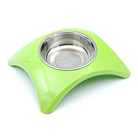 SuperDesign Rainbow Collection,Removable Stainless Steel Bowl in High Gloss Anti-Skid Melamine Stand,for Dog or Cat, Medium,