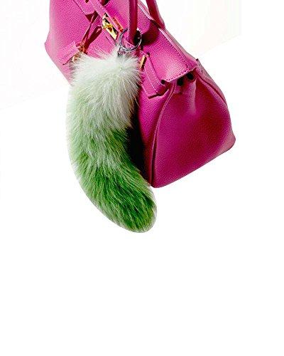 Modassori Damen Mode Handtasche-Anhänger Fuchsschwanz Echtfell weiß grün Geschenk aktuell