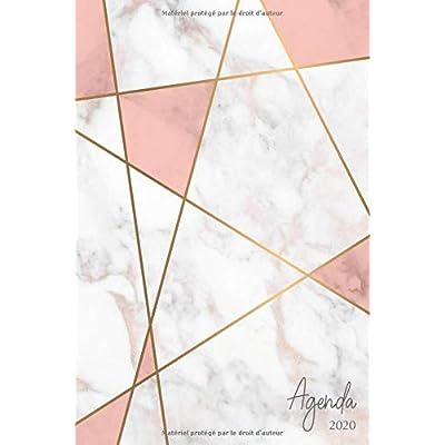 Agenda 2020: Agenda de Janvier à Décembre 2020, Semainier simple & graphique, série Marbre, Motif géométrique marbre, rose et doré