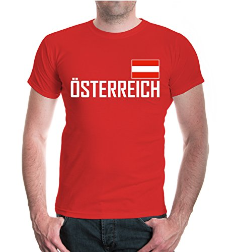 buXsbaum® Herren Unisex Kurzarm T-Shirt Österreich Ländershirt Fanshirt Flagge schwarz rot weiß | XXL red- Rot