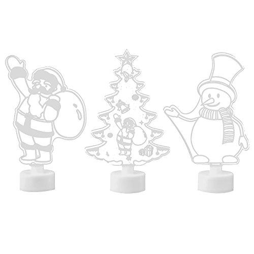 Beetest Veilleuse de Noël 3 PCS Joyeux Noël Multi Couleur Nuit Lumière Arbre De Noël Santa Claus Bonhomme De Neige Décor Ornement Lumière pour La Maison Boutique Fenêtre Arbre De Noël Partie