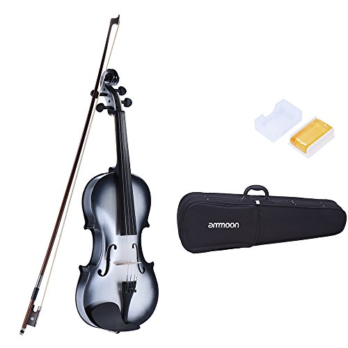 ammoon 3/4 Size Basswood Violinen Ahorn Rolle Griffbrett Stöpsel Aluminiumlegierung Saitenhalter mit Gute Qualitäts Kolophonium Bogen Violinen Kasten - Saitenhalter Geige 4 3