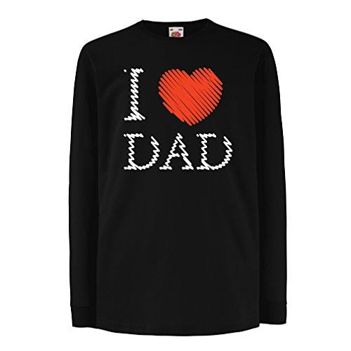 Kinder-T-Shirt mit langen Ärmeln Ich liebe mein Vati - Vatertagsgeschenk (9-11 years Schwarz Mehrfarben)