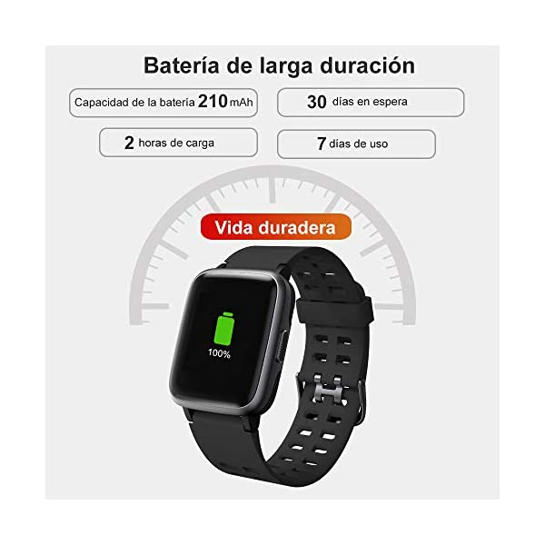Willful Smartwatch Impermeable Reloj Inteligente con Pulsómetro, Pulsera Inteligente para Deporte con Cronómetro, Podómetro. Smartwatch Hombre Mujer Niños para Android iOS Xiaomi Huawei iPhone 8