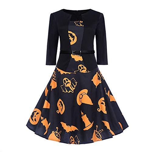 OverDose Damen Herbst-Formaler Art-Frauen Weinlese-Druck 3/4 Hülsen-Halloween-Abend-Partei, die reizend dünnen Schwingen-Kleid-Rock säubern(Orange1,EU-36/CN-L )
