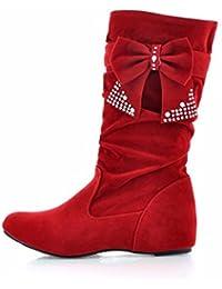 La pendiente con botas botas en el otoño y el invierno aumento de tamaño zapatos gamuza proa.,gules,47