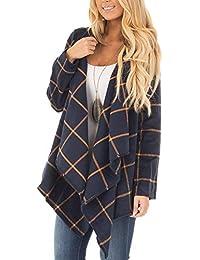ffecfed19c06 Newbestyle Jacke Damen Oberteile Übergangsjacken Mantel Kariert Kleidung  Asymmetrisch Poncho Oversize Jacken Jacket Plaid Umhang…