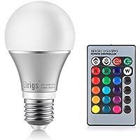 Elrigs lampada LED RGB dimmerabile + 5W bianco freddo (6000 Kelvin), attacco standard E27, 16 colori a scelta, angolo fascio 230°, telecomando ad infrarossi incluso