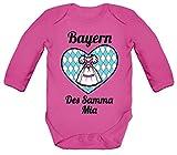 ShirtStreet Wiesn Gaudi Strampler Bio Baby Body Bodysuit Langarm Jungen Mädchen Dirndl Oktoberfest - Bayern des samma mia, Größe: 12-18 Monate,Fuchsia
